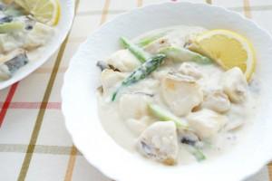 新じゃがいもと白身魚のレモンクリーム煮